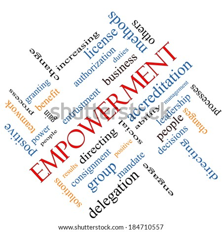 Empowerment Word Cloud Concept angled with great terms such as granting, business, duties and more. - stock photo