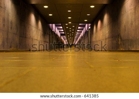 Empty abandoned hallway in the Oslo Central Station, underground pathway to the train platforms. - stock photo