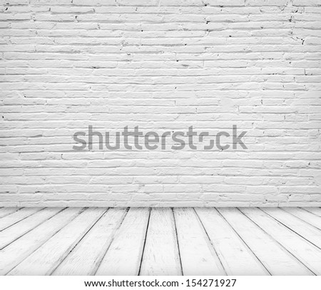 Empty abandoned Interior, vintage background of brick stone wall and wooden floor - stock photo