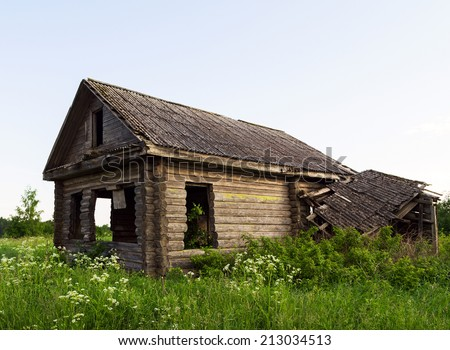 empty abandoned old house - stock photo