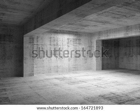 Empty abstract dark concrete room interior. 3d render illustration - stock photo