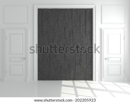 Empty abstract interior with black decor - stock photo