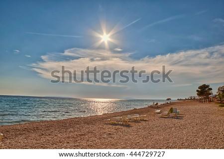 Empty Adriatic Beach at Sunset, Pag Island of Croatia - stock photo