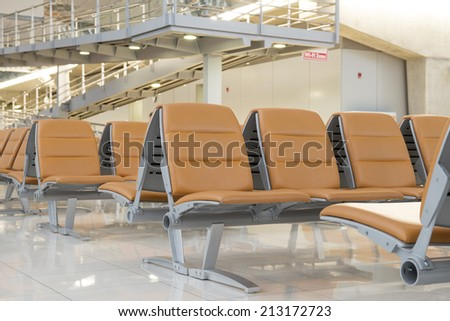 Empty airport waiting area - stock photo