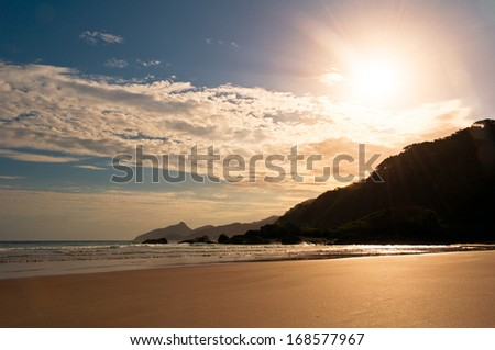 Empty and Clean Tropical Beach Lopes Mendes in Ilha Grande Island, Rio de Janeir State, Brazil - stock photo