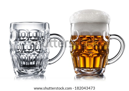 Empty and full beer in glass isolated on white - stock photo