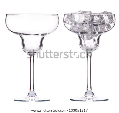 empty and full of ice glass isolated set - stock photo