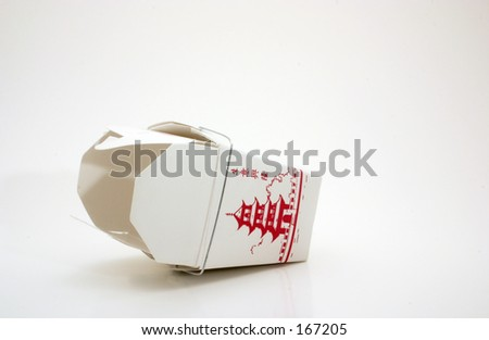 Empty and overturned generic take out box from Chinese fast food restaurant...late night snack. - stock photo