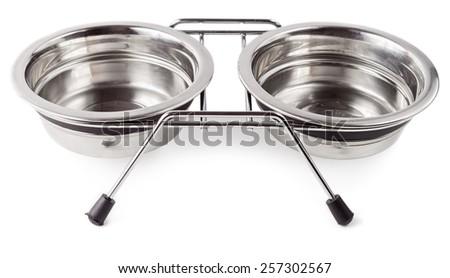 Empty animal food bowl isolated on white background - stock photo