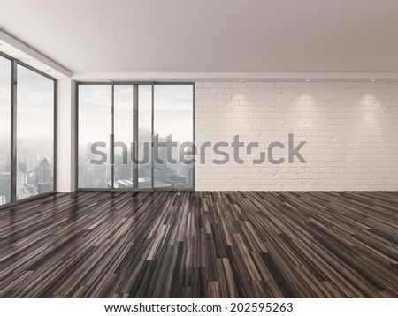 Empty apartment living room with a wooden parquet floor , white brick walls and large view windows overlooking a town - stock photo