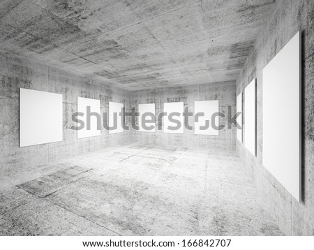 Empty art gallery concrete hall interior. Abstract 3d illustration - stock photo