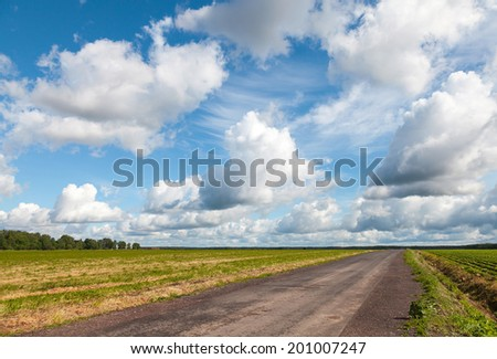 Empty asphalt country road perspective with dramatic cloudy sky - stock photo