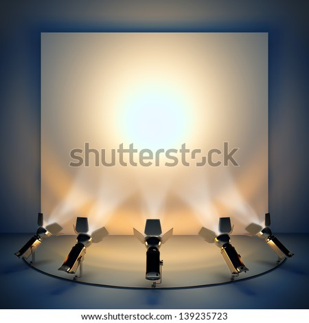 Empty background with stage spotlight. A 3d illustration blank template layout of presentation wall. - stock photo