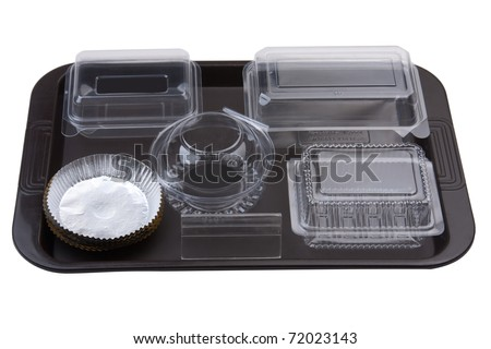 Empty bakery plastic utensils boxes for storage bread cookie bun or cake isolated on white - stock photo