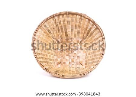 Empty bamboo basket handmade isolated on white background - stock photo