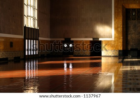 Empty bank interior - stock photo