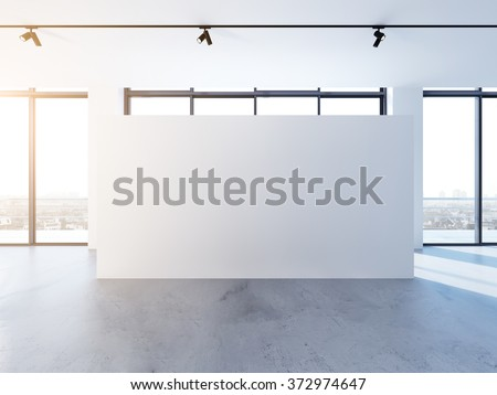 Empty banner in clear white interior, modern minimalistic style. 3d render - stock photo