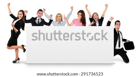 Empty banner with six people - stock photo