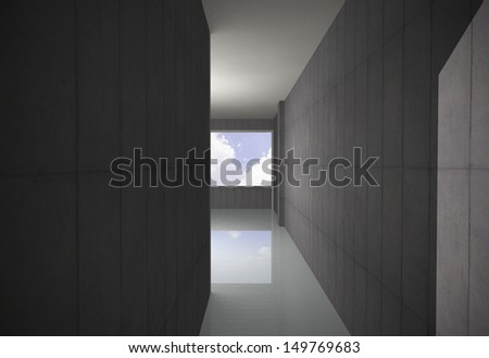 Empty Bare Concrete Corridor with sky - stock photo