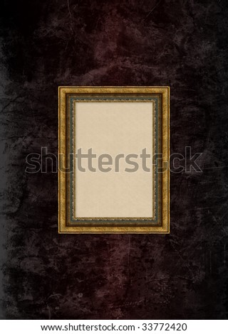 Empty baroque picture frame with copyspace on a grunge brown stucco wall - stock photo