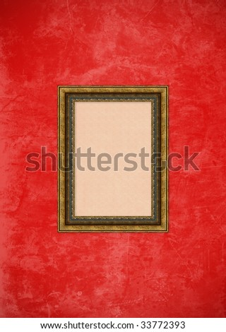 Empty baroque picture frame with copyspace on a red grunge stucco wall - stock photo