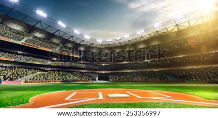 Empty baseball stadium 3 dimensional render panorama - stock photo