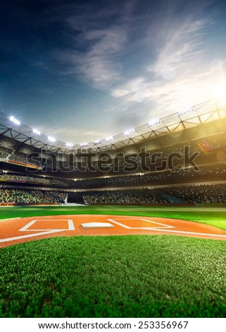 Empty baseball stadium 3 dimensional render vertical - stock photo