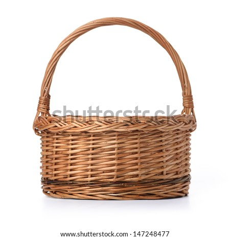 Empty Basket isolated over white background - stock photo