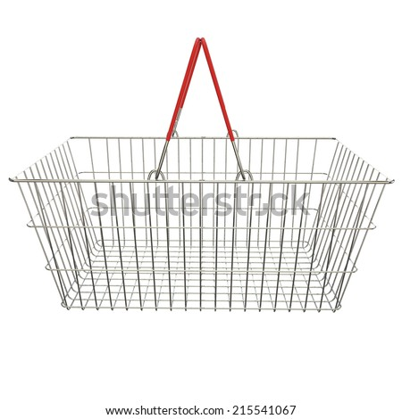 Empty basket with red rubberized handles on an isolated background - stock photo