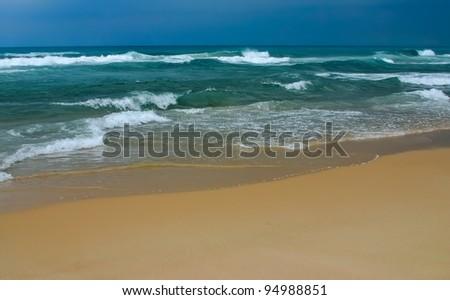 Empty beach before the storm. Tel-Aviv Israel, Mediterranean Sea. - stock photo
