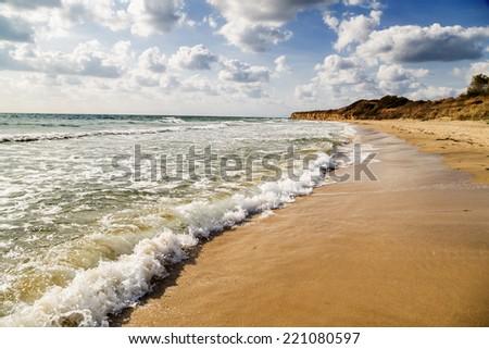 Empty beautiful beach - stock photo
