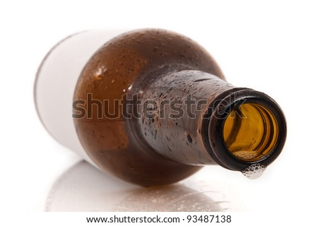 empty beer bottle on white background with reflection - stock photo