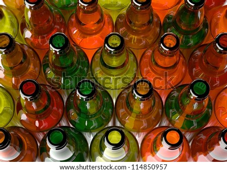 Empty beer bottles grouped, framed from above. - stock photo