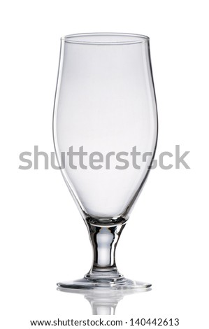 Empty beer glass isolated on white background. - stock photo