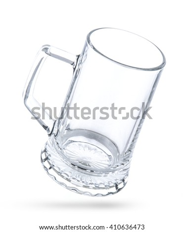 Empty beer mug isolated on white background. With clipping path - stock photo