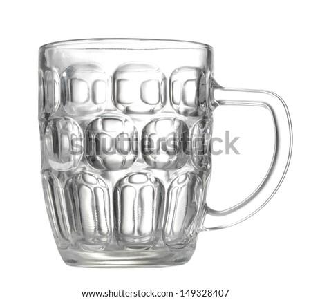 empty beer mug on white background - stock photo