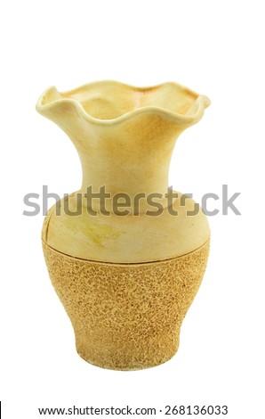empty beige ceramic vase isolated on white background - stock photo