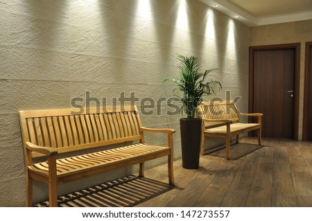 Empty bench in the waiting room  - stock photo