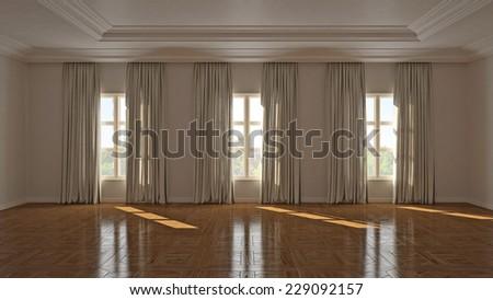 Empty big living room  - stock photo