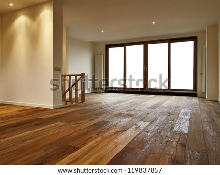 Empty big living room, there is a path for the windows - stock photo