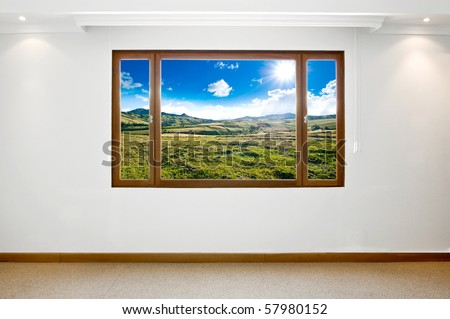 Empty big new room with a beautiful landscape view - stock photo