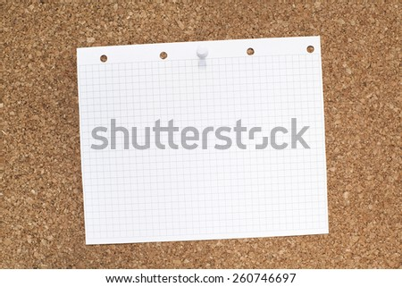 Empty Big Note Paper on Cork Bulletin Board - stock photo