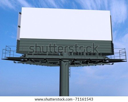 Empty billboard at sky background - stock photo