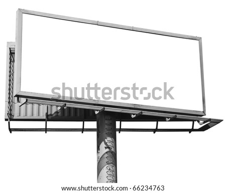 Empty billboard isolated on white - stock photo