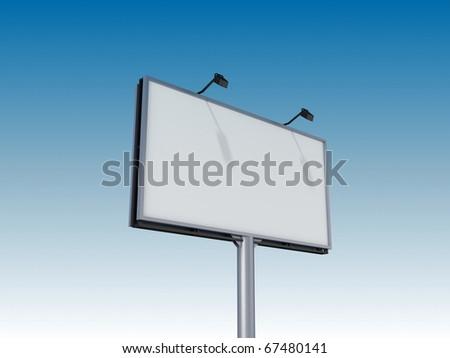 Empty billboard on sky background - stock photo