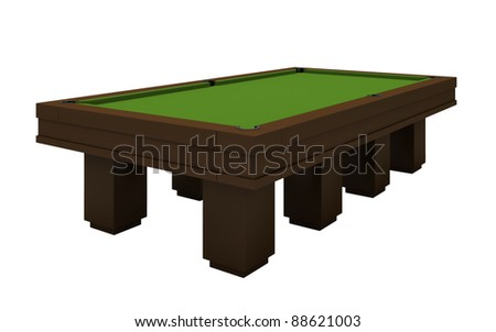 Empty billiard table with green cloth isolated on the white - stock photo