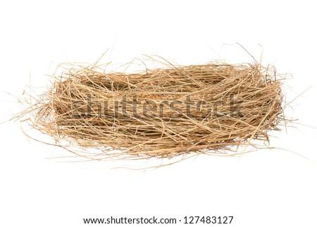 Empty birds nest isolated on white background - stock photo