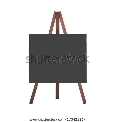 Empty black blackboard of wood for a background or sign - isolated on white - stock photo