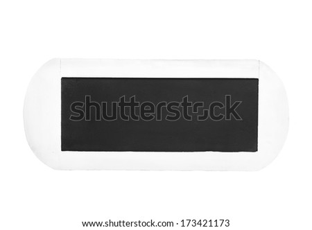 Empty black chalkboard of wood for a background or sign - isolated on white - stock photo
