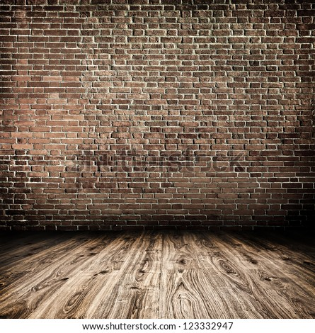 Empty black old spacious room with stone grungy wall and wooden weathered dirty floor, vintage background texture of brickwall - stock photo
